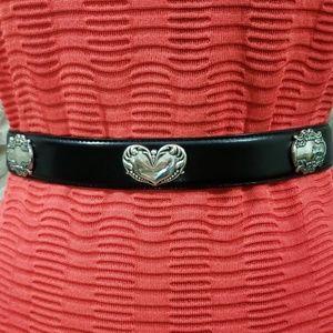 Fossil Black Leather Belt w/ Silver Hearts